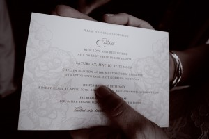 "An invite to match the ""garden party"" theme (made by Ipanema Press)"